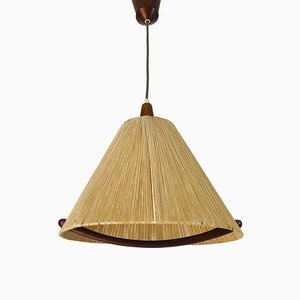 Mid-Century Teak and Rattan Ceiling Lamp from Temde, 1960s