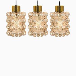 Glass Pendants Lamps by Helena Tynell for Glashütte Limburg, 1960s, Set of 3