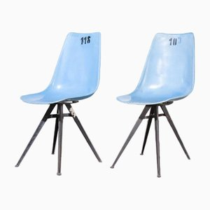 Blue Fiberglass Side or Dining Chairs, Czech, 1960s, Set of 2
