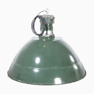 Large Industrial Green French Enamel Pendant Lamp from Sammode, France, 1950s