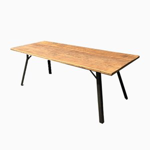 Industrial Oak Dining Table with Steel Frame