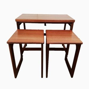 Mid-Century Teak Swivel Top Nesting Tables by Tom Robertson for McIntosh, 1960s, Set of 3