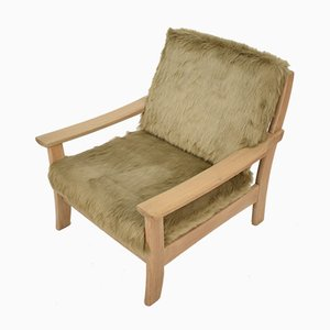 Mid-Century Scandinavian Light Oak and Faux Fur Armchair, 1970s