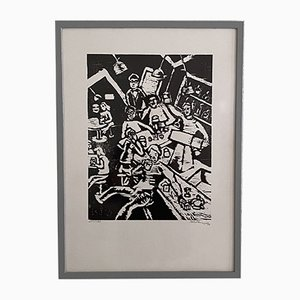 Mid-Century German Black and White Framed Bar Scene Linocut, 1970s