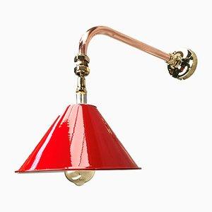 Lámpara de pared Cantilever inclinable británica de cobre inclinable con pantalla de festón rojo, años 80