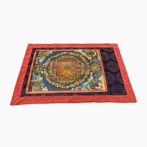 Thangkas tibetano de tela pintada con seda y terciopelo, años 50. Juego de 2
