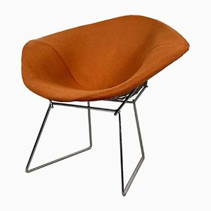 Verchromter Diamond Chair mit orangenem Sitz von Harry Bertoia für Knoll Inc. / Knoll International, 1970er