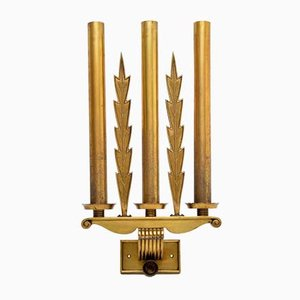 Antique Neoclassical Brass Wall Sconces, Set of 5