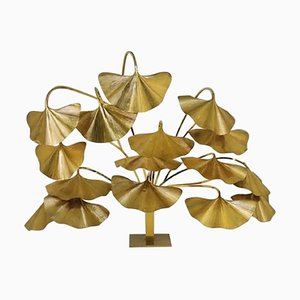 Vintage Brass Leaves Floor Lamp by Tommaso Barbi for Bottega Gadda, 1970s