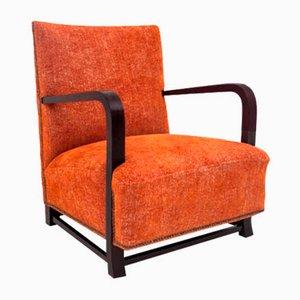 Orangefarbener Mid-Century Sessel, 1950er