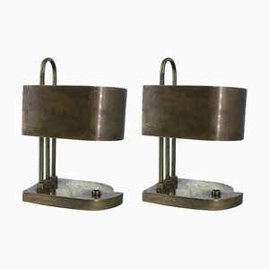 Vintage German Bauhaus Brass Table Lamps, Set of 2