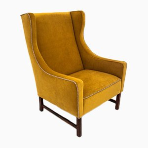 Mid-Century Yellow Wingback Armchair, 1950s