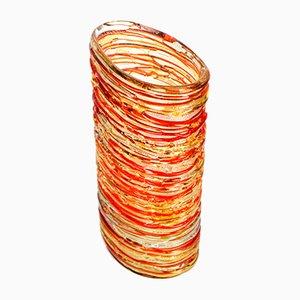 Jarrón de cristal de Murano en rojo ámbar de vidrio soplado de Made Murano