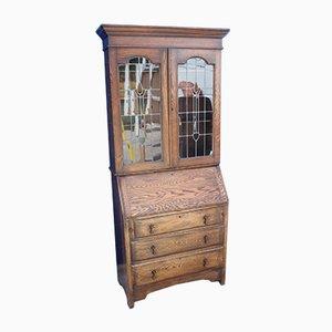 Libreria in quercia con ante in vetro, anni '20