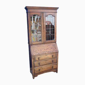 Oak Bureau Bookcase with Lead Glass Doors, 1920s