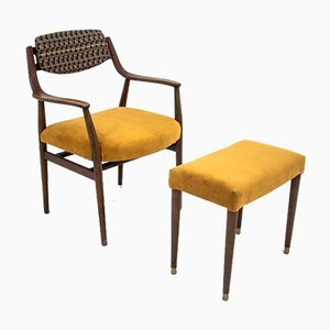 Mid-Century Scandinavian Armchair and Footstool Set, 1950s