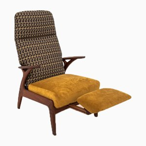 Mid-Century Yellow Armchair with Pull-Out Footrest, 1950s