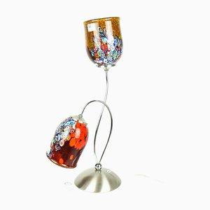 Lámpara Murrina Millefiori de cristal de Murano en rojo de Murano