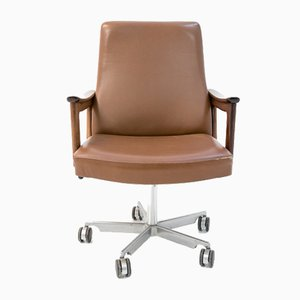 Mid-Century Danish Leather Office Chair, 1970s