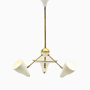 Italian White and Brass Ceiling Lamp, 1950