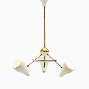 Lámpara de techo italiana de latón blanco, años 50