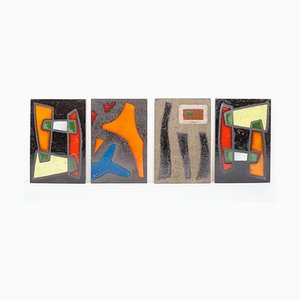 Large French Tiles in the Style of Le Corbusier for Vallauris, 1950s, Set of 4