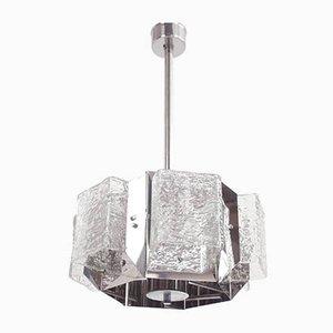 Lampada a sospensione esagonale in vetro Space Age di Michel Boyer, anni '60