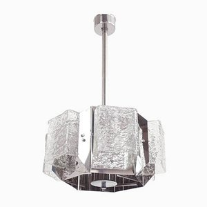 Large Space Age Glass Hexagonal Pendant Lamp by Michel Boyer, 1960s