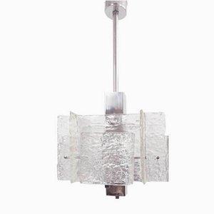 Grande Lampe à Suspension Carrée Space Age en Verre par Michel Boyer, 1960s