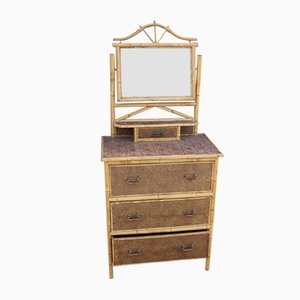 3-Drawer Bamboo Dressing Table with Central Mirror, 1910s