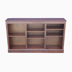 Mahogany Long Low Open Bookcase with Shelves, 1960s