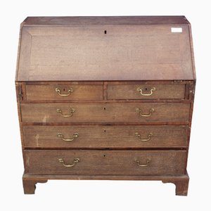 Large Oak Bureau with Well Fitted Interior, 1850s