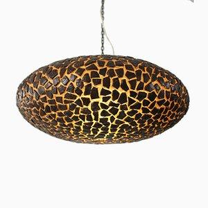 Lampada a sospensione in fibra di vetro marrone, anni '70