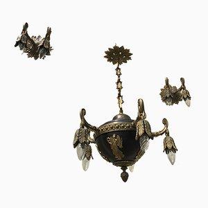 Bronze Kronleuchter & Wandleuchten, 1920er, 3er Set