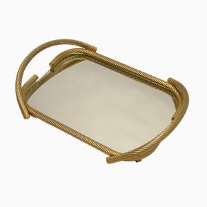 French Golden Calbe Tray with Mirror from Brass Milano, 1960s