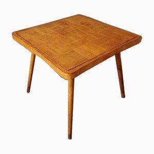 Tavolo da gioco Mid-Century in legno e stoffa verde di Paolo Buffa, anni '50
