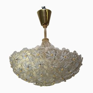 Glass Flower Chandelier by Ercole Barovier for Barovier & Toso, 1950s