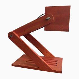 Lámpara de mesa articulada de madera, años 70