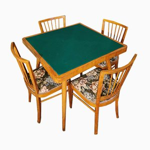 Wood and Floral Fabric Dining Chairs & Table with Interchangeable Top by Paolo Buffa, 1950s, Set of 5