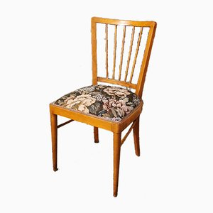 Mid-Century Wood and Floral Fabric Dining Chairs by Paolo Buffa, 1960s, Set of 4