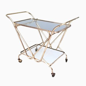 Mid-Century Italian Brass Serving Cart with Glass Shelves, 1950s