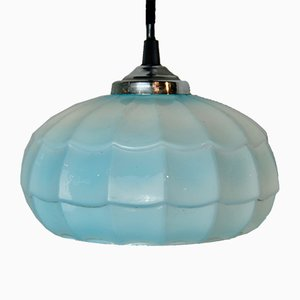 Art Deco Deckenlampe mit blauem Schirm, 1920er