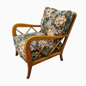 Mid-Century Wood and Green Fabric Lounge Chairs by Paolo Buffa, 1940s, Set of 2