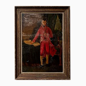 large 19th century Portrait of Napoleon Bonaparte Oil Painting