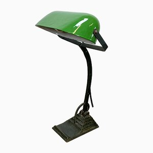 Vintage Green Enamel Desk Lamp, 1930s