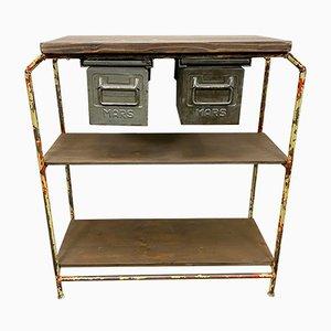 Industrieller Vintage Arbeitstisch mit Schubladen aus Eisen, 1960er