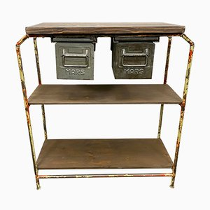 Vintage Industrial Worktable with Iron Drawers, 1960s