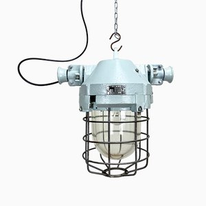 Industrial Bunker Ceiling Light with Iron Cage from Elektrosvit, 1970s