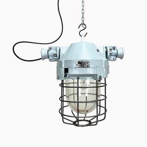 Industrielle Bunker Deckenlampe mit Eisenkäfig von Elektrosvit, 1970er