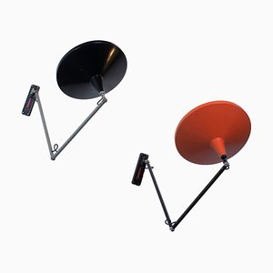 Panama Adjustable Metal Wall Lights by Wim Rietveld for Gispen, 1950s, Set of 2